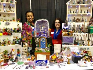 Stephanie and Lisa, two very creative and talented ladies, with some of their miniature creations