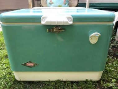This large, retro cooler is available from Coleman. It matches my vintage 1960's find.