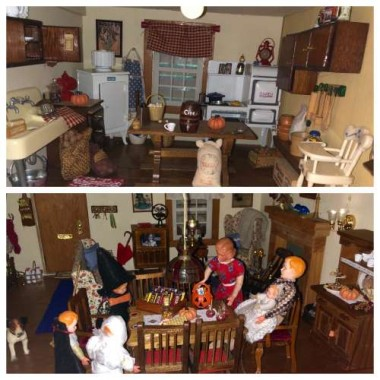 The dollhouse got a fall makeover, too. I made costumes from tissue and felt using scraps I had on hand, all in the time it took to drink a cup of coffee. I wanted to convey the sweetness of vintage Halloweens past.