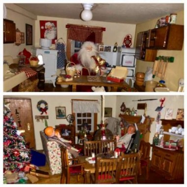 Love is a big  ingredient in Christmas spirit! Here Santa makes an appearance in the kitchen. (I promised readers a glimpse of the dollhouse decorated for the holidays...here it is!)