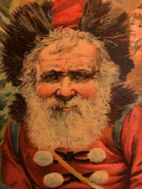 "Santa was a bit more serene in 1897, From the cover of ""The Santa Claus Story Book"" by Mclauglin Bros."