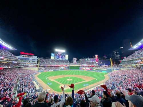 Sports are a big draw in city centers.  Here is Target field in Minneapolis.  The Twins didn't disappoint in their usual ability to disappoint :).  They lost this final playoff game to the Yankees pretty badly.