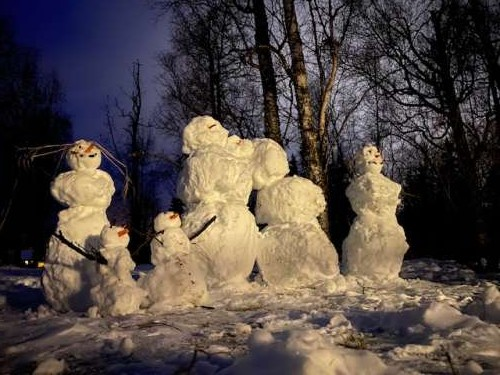 Our snow family greeting the new year and new decade!