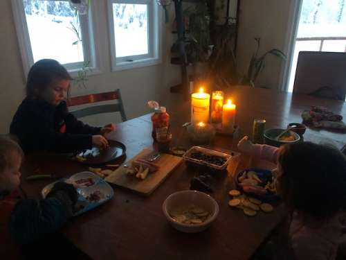 Candle lit dinner with the kiddos.