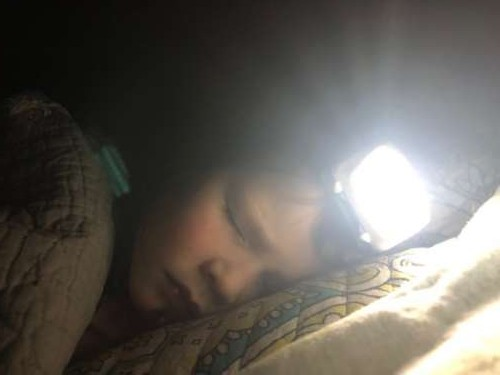Opal fell asleep in her headlamp and was soooo cute.