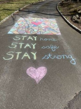On a walk, I saw this beautiful message drawn on a neighbor's driveway.