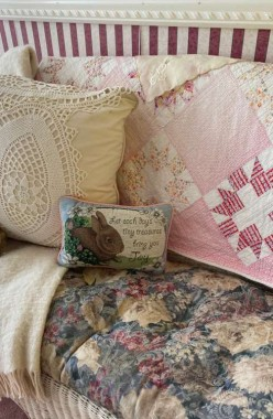 I took this little mass-produced Easter pillow I have had for twenty years, turned it over...
