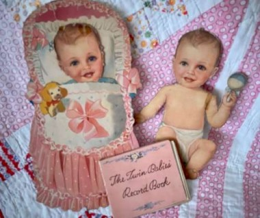 "One of my favorites, the ""twin babies"" , dated 1942, look to be a complete set, with all kinds of outfits and accessories."