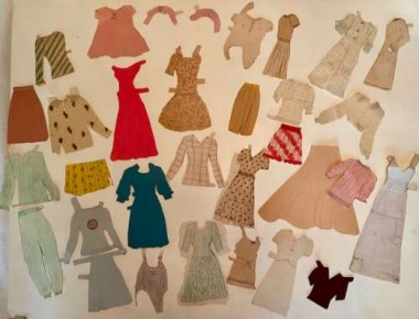 "All of these pieces are meticulously homemade. Some are made from flocked material, or notebook paper for stripes, or tissue paper to resemble ""chiffon""."