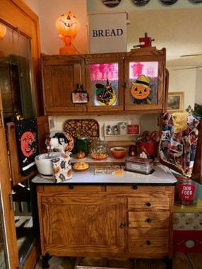 The Hoosier cabinet has a spooky, vintage touch for October.
