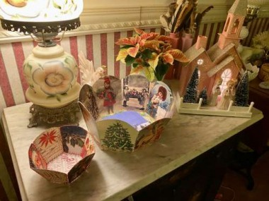 Years ago, MaryJane sent me these Christmas card bowls. They are cherished pieces, as is the putz house given to me by a special friend.