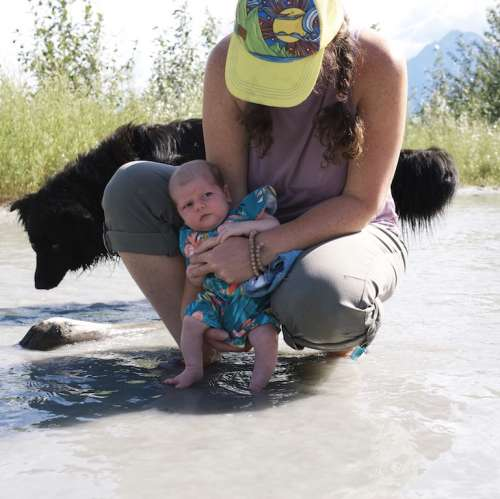 "Nova gets ""baptized"" in the glacial waters of the Matanuska River"