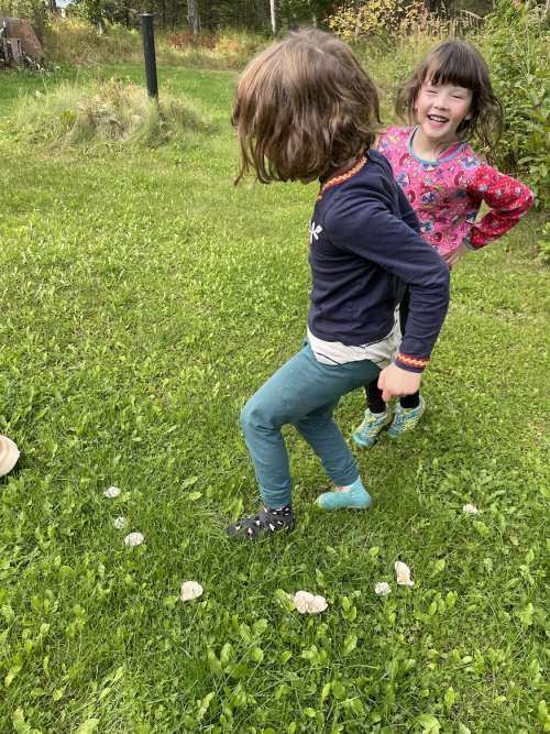 Ava and Opal dancing in a Fairy Ring